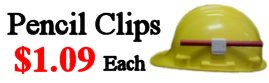 Adhesive Hard Hat Pencil Clips Only .89 Cents Each! - Fits All Hard Hats!