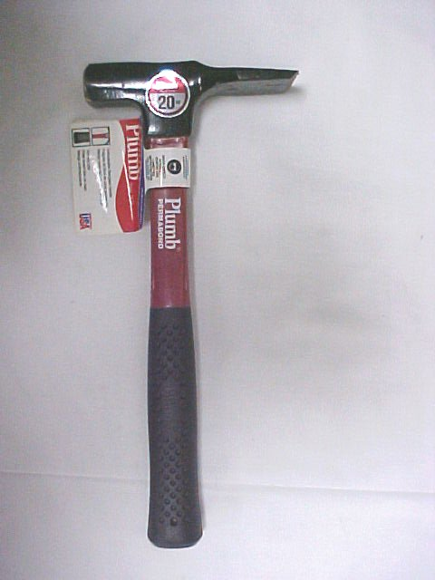 20oz. Plumb Wide Bit Brick & Block Hammer - W/Fiberglass Handle