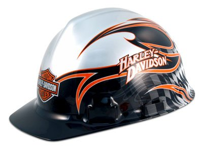 Harley Davidson Construction Safety Hard Hats - Silver W/Flames