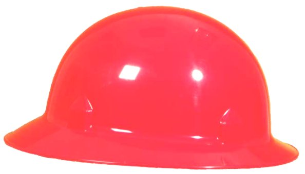Red Full Brim Jackson Block Head Safety Hard Hat W/Ratchet Suspension System