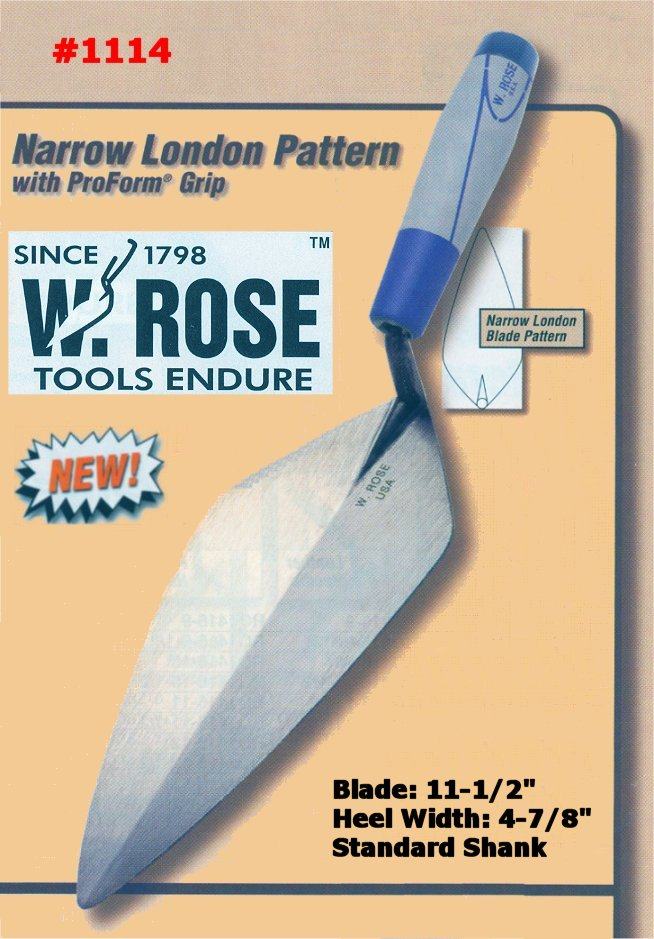 "11.5"" Narrow London Pattern Brick Trowel W/ProForm Grip Handle"