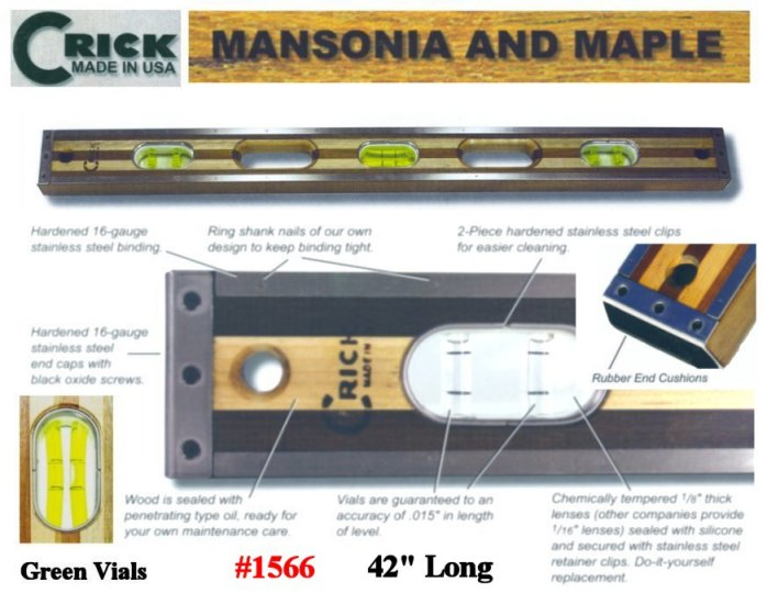 "42"" Crick Five Piece Laminate Hardwood Masonry & Construction Builders Carpenters Level With Rubber End Cushions & Green Vials"