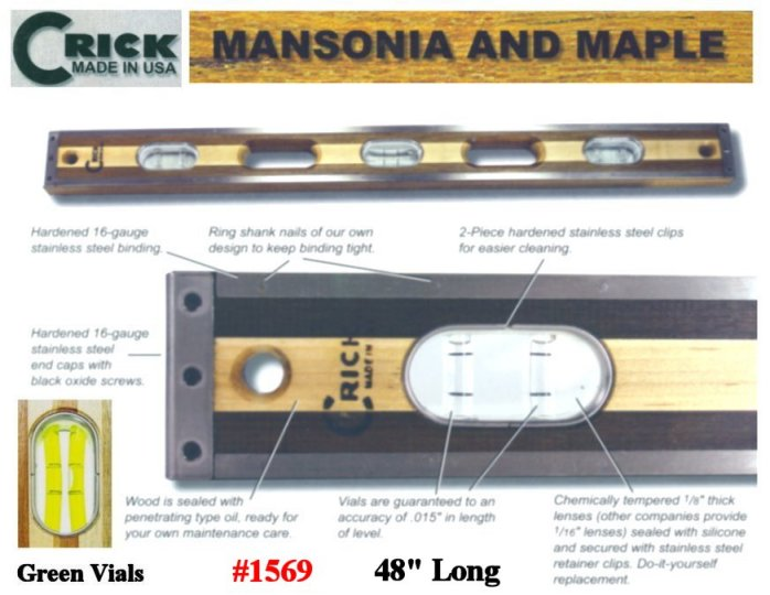 "48"" Crick Standard Three Piece Laminate Hardwood Masonry Builders & Construction Carpenters Masons Level With Green Vials"