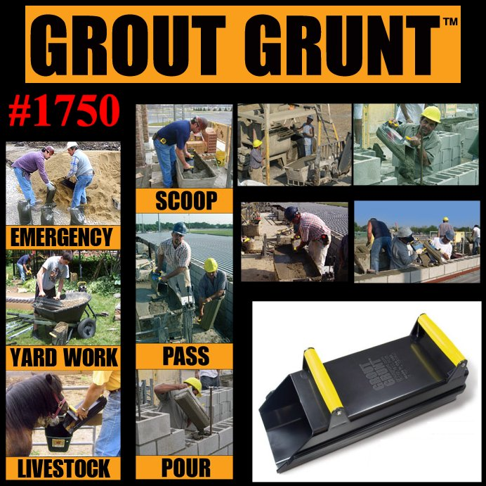Grout Grunt 0.5 Cu. Ft. Material Mover - Scoop & Pour