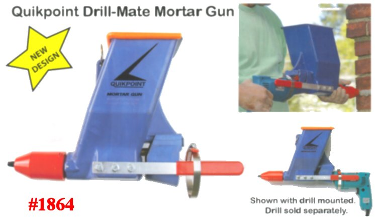 The NEW QUIKPOINT DRILL-MATE Mason's Mortar/Grout Joint Gun