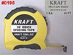 Kraft 16' Brick Mason's Space Markings Spacing Tape Measure