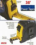 EMPIRE 35' Power Grip Durable ABS Case Steel Measuring Tape