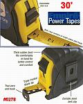 EMPIRE 30' Power Grip Durable ABS Case Steel Measuring Tape