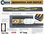 "42"" Crick Five Piece Laminate Hardwood Masonry & Construction Builders Carpenters Level With Rubber End Cushions & Clear Vials"