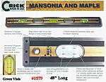 "48"" Crick Five Piece Laminate Hardwood Masonry & Construction Builders Carpenters Masons Hardwood Level With Green Vials"