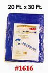 20' x 30' Heavy Duty Fiber Reinforced All Weather Blue Poly Tarp