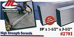"10' x 1-1/2"" x 3-1/2"" High Strength Alloy Concrete Screed Tool"