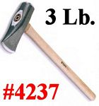 "3 Lb. Hand Mauling Splitter Hammer With 18"" Hickory Handle"